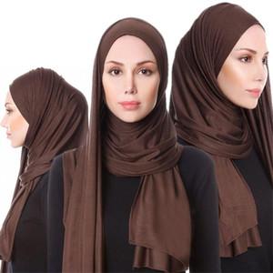 2021 Muslim Jersey Hijab Scarf Soft Solid Shawls Headscarf foulard femme musulman Islam Arab Wrap Head Turban For Women Scarves