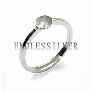 Basit Yüzük Ayarları Boş Taban Band 925 Ayar Gümüş DIY Mücevherat Bulma Montajları Için Pearl Partisi