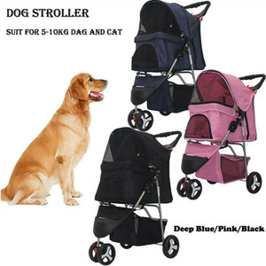 Cat Dog Stroller Pet 3 Jog Wheel Folding leve de viagem respirável Transportador