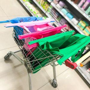 Корзина супермаркета Тележка для корзины Тележка для корзины Складные многоразовые продукты GRAB GRAB ECO Супермаркет Складки Складные сумки 2019 4 шт. / Набор T200110