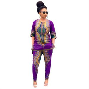 Free Ostrich Lucky DashikiClothing Women Dashiki Fashion African Print Casual Straight Print Tops Pants Womens sets D0335