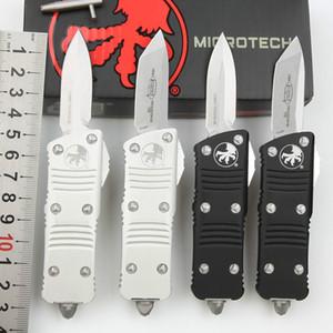 MicroTech Messer Mini Troodon-M Automatische Taschenmesser Stein gewaschen D2 Stahl T6-6061 Aviation Aluminiumlegierung Griff im Freien Camping EDC
