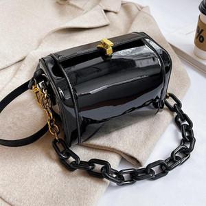 Bolsas para mujeres 2021 Nuevos bolsos de lujo Moda Patente Messenger Bag Small Box Cadena Cadena de bolsas Bolsa de asas Red Crossbody