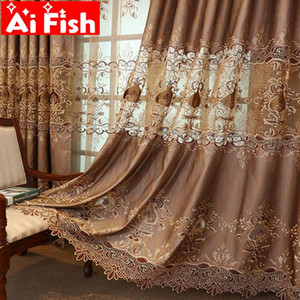 Brown Luxury Villa Embroidery Lace Curtains For Living Room European Curtains Tulle Geometric Sheer Voile Window Drapes M041#4