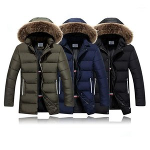 Down Jacket Fashion Trend Cardigan Zipper Button Slim Fur Collar Hooded Outerwear Designer Male Warm Casual Mid-length Coats Man Tooling