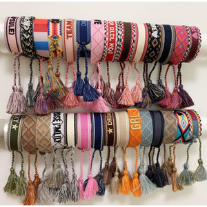 Роскошный стиль веревки материал тканый браслет с шитью слова и кисточкой ручной ремень бренд ювелирных изделий для женщин подарок IYWU3