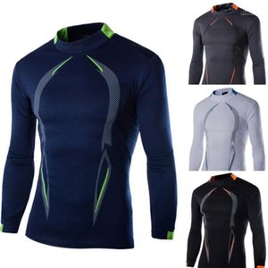 Compression T-shirts Sports Fitness Printemps Automne manches longues T-shirts Mens Tops
