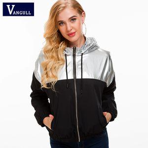 Vangll Two Tone Metallic Hoodie Jacket New Color Block Drawstring Women Clothing Tops Zipper Coat Patchwork Silver Jackets 201020