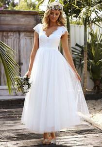 Summer 1950s' Tea Length A-Line Wedding Dress Lace Tulle Modest Cap Sleeve V-neck Bohemian Beach Garden Bridal Gowns 2019 vestido de novia