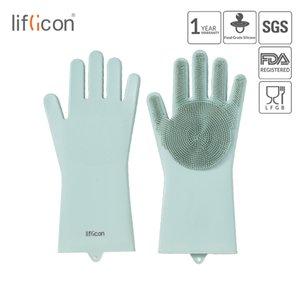 Liflicon Magic Silikon Wäscher Gummi Reinigungshandschuhe Staubschale Waschen Geschirrspülhandschuhe Küchenwaschhüten Handschuhe 201021