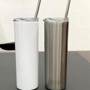 Kupalar Süblimasyon Vakum Araba Boş Düz Çelik Tumbler 600 ML DIY Bardaklar Kahve Yalıtımlı Paslanmaz Tumbler Tumbler Skinny 20oz EEA2041- VBFU