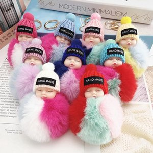 Cute Sleeping Baby Doll Keychain Colored Pompom Ball Key Chain Keyring Key Holder Bag Pendant Plush Ball Key Ring Favor RRA3737