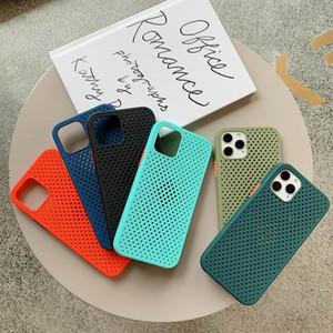 pour Samsung s20 Dissipation thermique doux liquide Phone Case pour iPhone 12 11 Pro Max XR XS Max Annulaire en silicone respirant couverture arrière