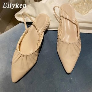 Eilyken 2021 Fashion Design Pleated Leather Pointed Toe Casual Flat Mules Women Shoes New Back Strap Elegant Femmes Sandals #Qh77