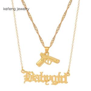 HipHop Golden Gun Pistole Babygirl Old English Brief Halskette reizendes Geschenk für die Mädchen Goth Mehrschichtige Choker Claviclekette