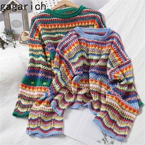 Gagarich Mujeres Christmas suéter otoño dulce multicolor Stripe Stripe Jersey O-cuello Slim Hollow Coreano Tops de ganchillo 201221