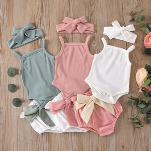 kids clothes girls boys Solid color outfits infant headbands+Pit stripe Sling Tops+Bow shorts 3pcs set 2021 summer baby Clothing Sets