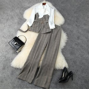 European and American women's wear 2020 winter new style Bow with seven-point sleeves and plaid coat trousers Fashion suits