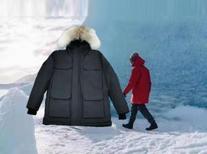 высокое качество зима новый мужской открытый теплый белый утиный мужские ветрозащитность водонепроницаемый капюшон волк мех Parka пальто