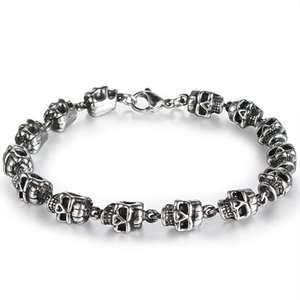 Men's Personality Titanium Steel Skulls Beaded Weaving Bracelets BXG017 Trendy Punk Style Accessories Retro Hip Hop Jewelry