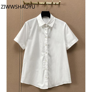 Women's Blouses & Shirts ZIWWSHAOYU Women Summer Fashion Office Lady White Cotton Blouse Shirt Short Sleeve Designer Tops