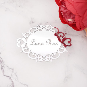 Personalized Oval Mirror Acrylic Sticker Custom Name Party Decor Favors Invitation Card Wedding Party Guest Gifts