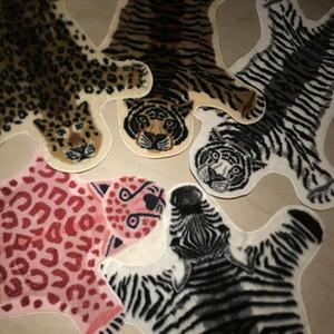2021 moda cowhide tapete zebra listra tapete leopardo leopardo faux pele villi urso preto almofada de ovelha