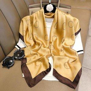 السيدات انيقة لينة دائرة مطبوعة التفاف الحجاب Echarpe باندانا المنديل Pashimina 90X90CM ساحة الحرير والأوشحة للنساء