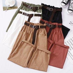 BYGOUBY Bahar Yaz Casual Kadın Ayak Bileği Pantolon Kadın Ince Harem Pantolon Cep Chic Pantolon Y200418