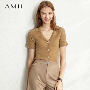 Amii Frühling Sommer Solid Kausal Strick-Shirt Frauen Einreihendem Solide Slim Knit Pullover 12030006 201017