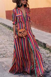 Striped Lapel Neck Womens Dresses Loose Short Sleeve Summer Casual Women Designer Dress Full Length Clothing