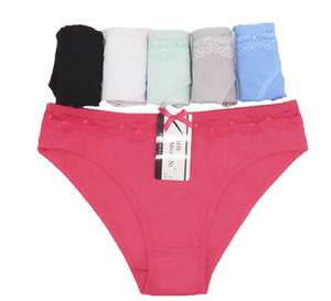 escritos ropa interior de las bragas de algodón bajo atractivo Waiste femenina panty de Olid underpant mujer Íntimos niña dama 5pc / lot