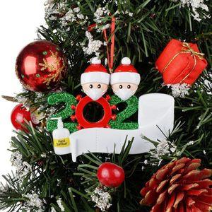 35cm Papai Noel Árvore de Natal Quarentena Decorações Personalizado Presentes Sobrevivente Família 2-7 Ornamento Boneco de Neve Pingente com Máscara Face DHL