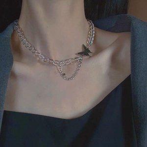 Collana con scollo a farfalla immortale in stile giapponese e coreano in stile coreano Semplice elegante perline trasparente perline interamente catena clavicola