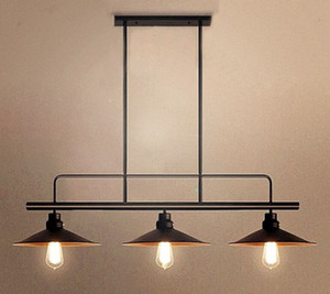 Loft Industrial Pendant Lights 2  3 heads E27 Black Pendant lamps For Parlor Study Dinging room Suspension Hanging lamps