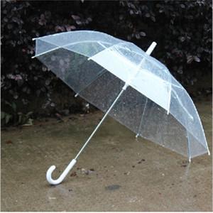 50PCS Fedex Free Wholesale Transparent Umbrellas Clear PVC Long Handle Rainproof