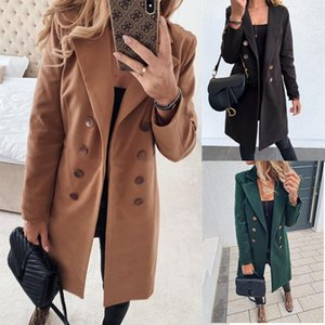 Casaco de Inverno Casaco Casacos Mulheres Abotoamento longa coreano elegante Vintage Female Plus Size quentes Tops casaco de lã preto