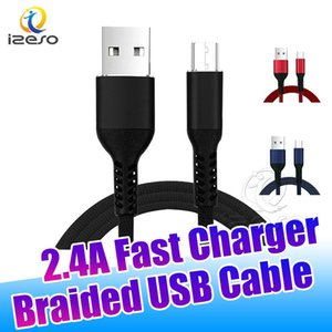 Micro USB 2.4A High Speed Charger Cloth Braided Wire Data Cable Fast Chargers for Samsung Note 10 Plus S10e Huawei LG izeso