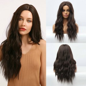 Black Brown Wigs Middle Parting Long Curly Natural Looking Synthetic Women Wigs