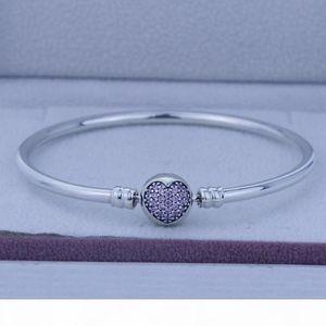 Fits for European Jewelry Silver Circle of Love Pink Cz Bracelet DIY Original 100% 925 Sterling Silver Bracelets Wholesale 1PC LOT free ship