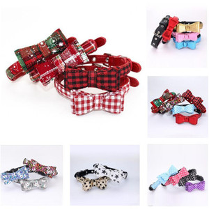 18 Styles Adjustable Puppy Dogs Collar Bowknot PU Leather Necklace Cat Dog Collars Breeds Pet Suppliers Christmas Gift Wholesale