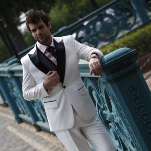 2020 custom made White Business men suit Groom Tuxedos Jacket+Pant Wedding Suits For Mens prom Fashion Tuxedos wedding party