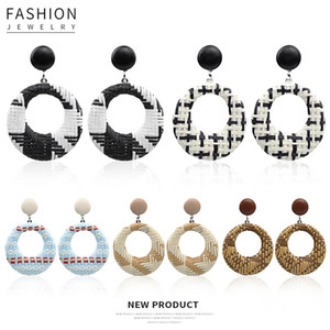 Retro Rattan Geometric Hollow Stud Earrings Bohemian Ethnic Style Creative Hand Weaving Earrings for Women