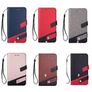 Hybrid Hit Color PU Leather Wallet Case For Iphone 12 11 Pro XR XS Max X 8 7 6 SE 5 Galaxy Note 20 Ultra 10 Dual ID Slot Flip Cover Strap
