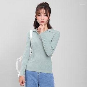 DMLFZMY Ropa de punto Mujer Otoño 2019 otoño nuevo abrigo de mujer de manga larga solapa coreana camisa informal11