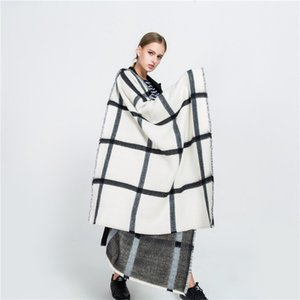 Mingjiebihuo Autumn and winter new black and white double-sided scarf beige plaid scarf warm fashion shawl women girls 201102