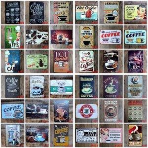 Kahve Metal Giriş Vintage Teneke Mutfak Coffee Bar Cafe Retro Metal Posterler Demir Boyama EWF1253 için Plaket Metal Vintage Duvar Dekoru Sign
