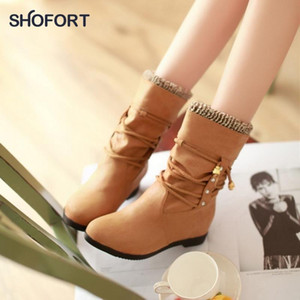 SHOFORT Winter Women Boots 2020 Fashion Buckle Strap Cross-tied Snow Boots Low Heel High Tube Fringed Warm Casual Women's Shoes