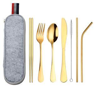 8PCS Conjuntos Cuchillo Horquilla Scoop Straight Curved Paja Chopsticks Cepillo Acero Inoxidable Bolsa Portátil Vajilla Trajes de viaje Utensilio Nuevo 18 8WL K2