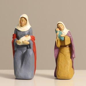Старинные статуэтки ангела мать Мэри удержание детеныши Иисуса статуя смола святая семейство статуи католические религиозные подарки ремесло дома декор T200703